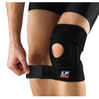 LP护具 LP733CA护膝 透气弹簧支撑 户外登山护膝健身运动护具关节护套 黑色单只装