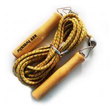 原木柄 专业跳绳 原木加橡胶跳绳